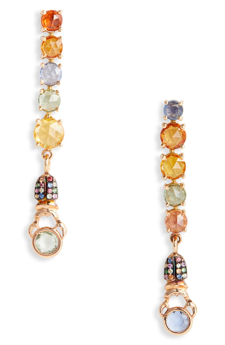 DANIELA VILLEGAS Stoplight Mismatch Stone Linear Earrings, Main, color, 710