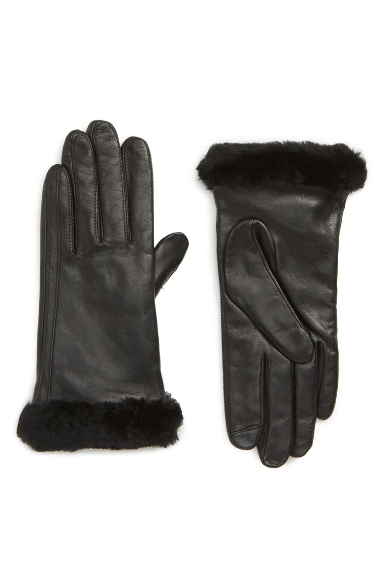 UGG<SUP>®</SUP> Touchscreen Compatible Leather Gloves with Genuine Shearling Trim, Main, color, 001