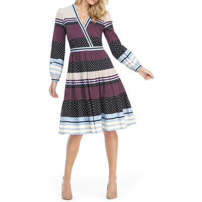 Gal Meets Glam Collection Dakota Mixed Print Long Sleeve Fit & Flare Dress, Purple