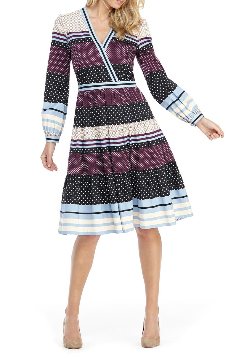 GAL MEETS GLAM COLLECTION Dakota Mixed Print Long Sleeve Fit & Flare Dress, Main, color, 550