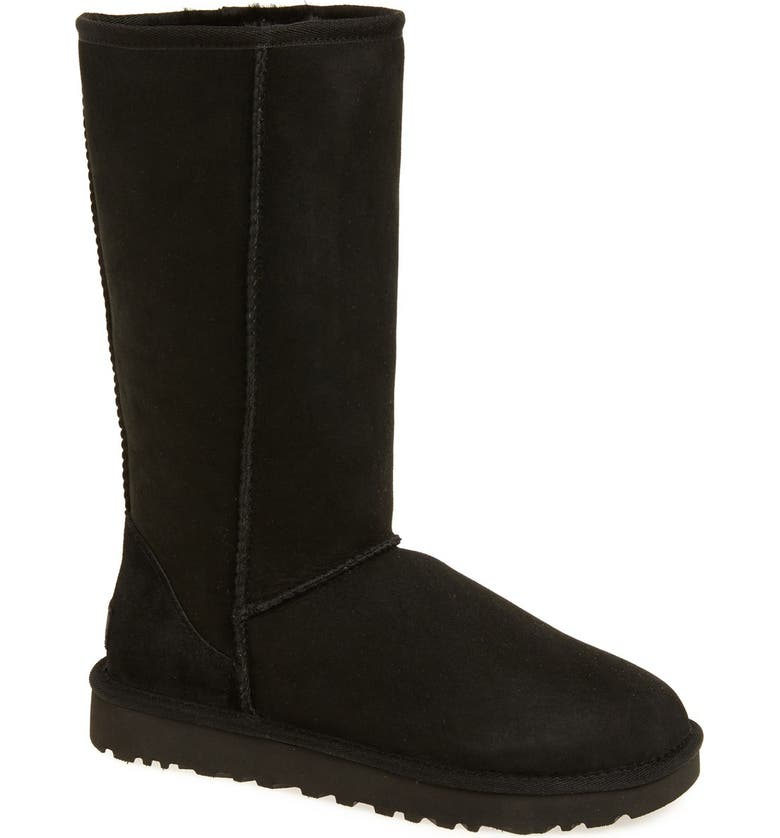 UGG<SUP>®</SUP> Classic II Genuine Shearling Lined Tall Boot, Main, color, BLACK SUEDE