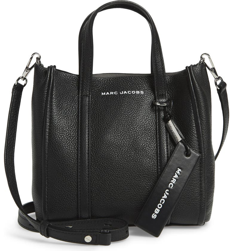 THE MARC JACOBS The Tag 21 Leather Tote, Main, color, BLACK