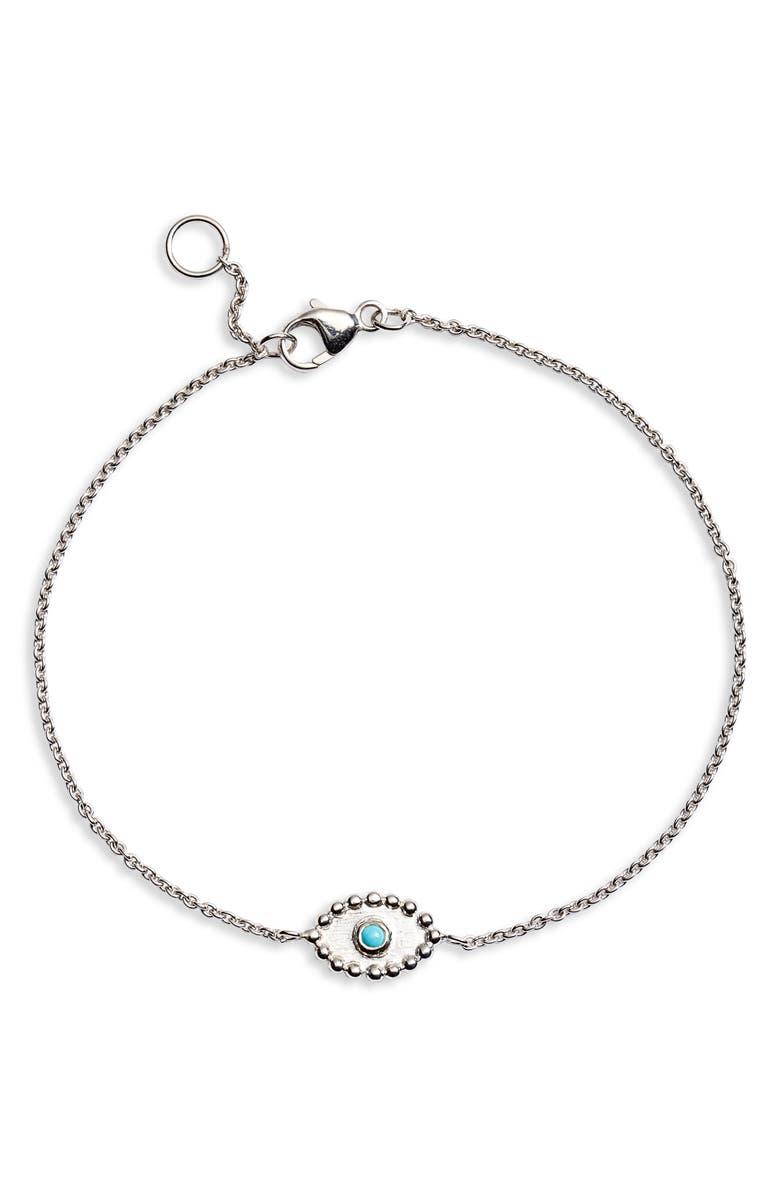 ANZIE Dew Drop Turquoise Evil Eye Bracelet, Main, color, SILVER