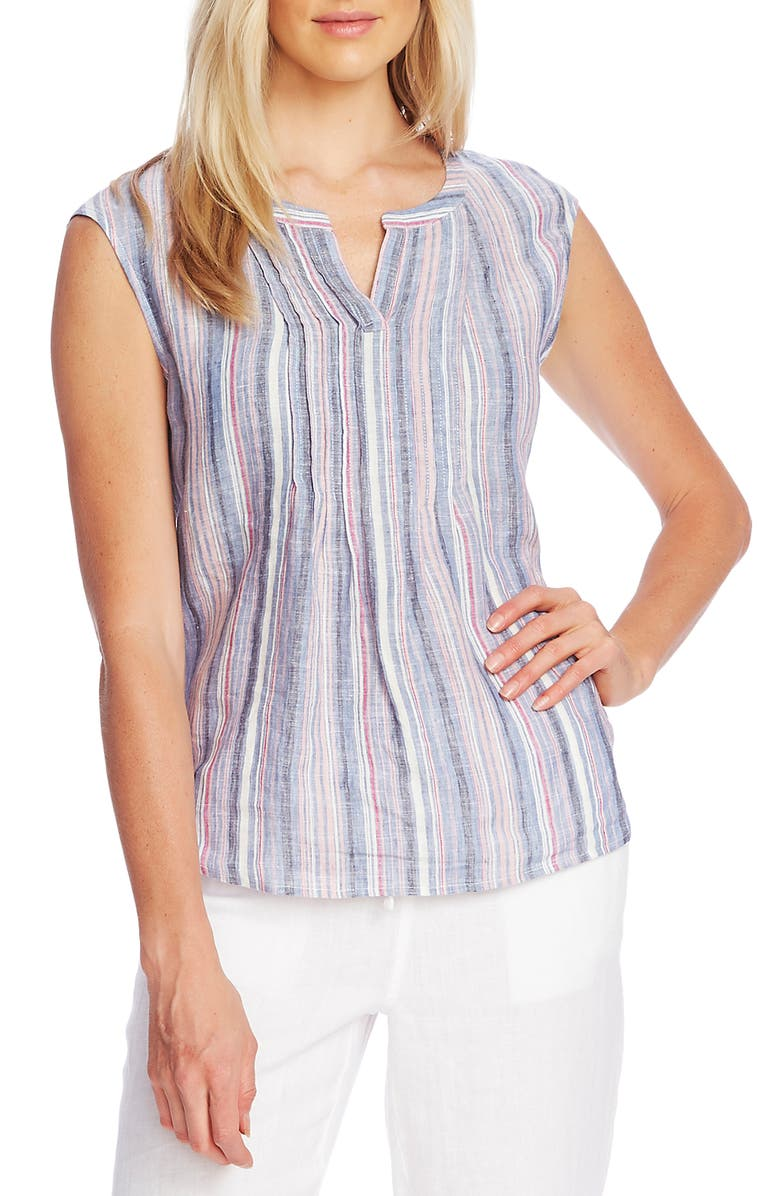 VINCE CAMUTO Cabana Stripe Sleeveless Linen Top, Main, color, PINK LOTUS