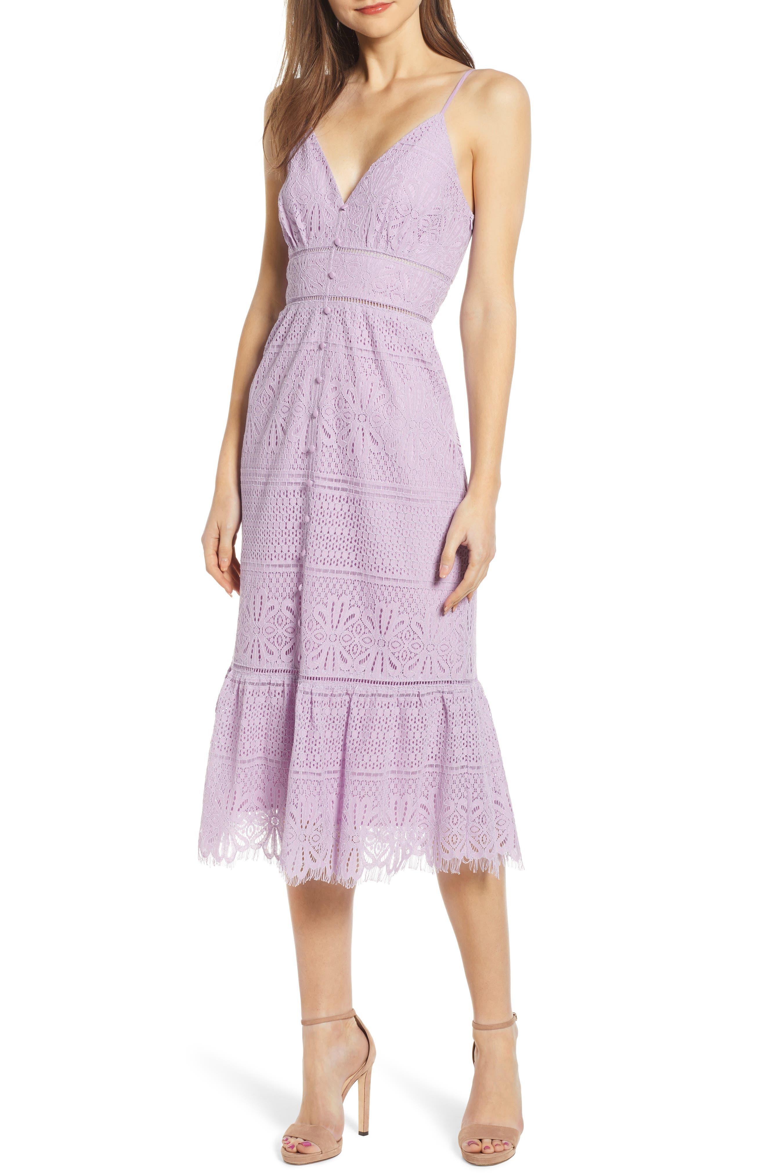 4Si3Nna Button Down Lace Midi Dress, Purple