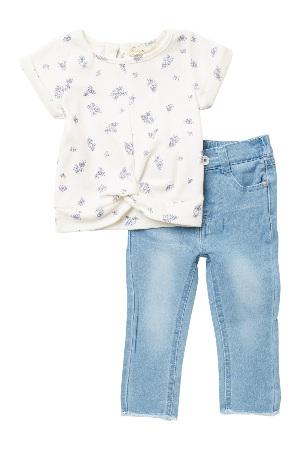 Image of Jessica Simpson Floral Print Top & Denim Pants