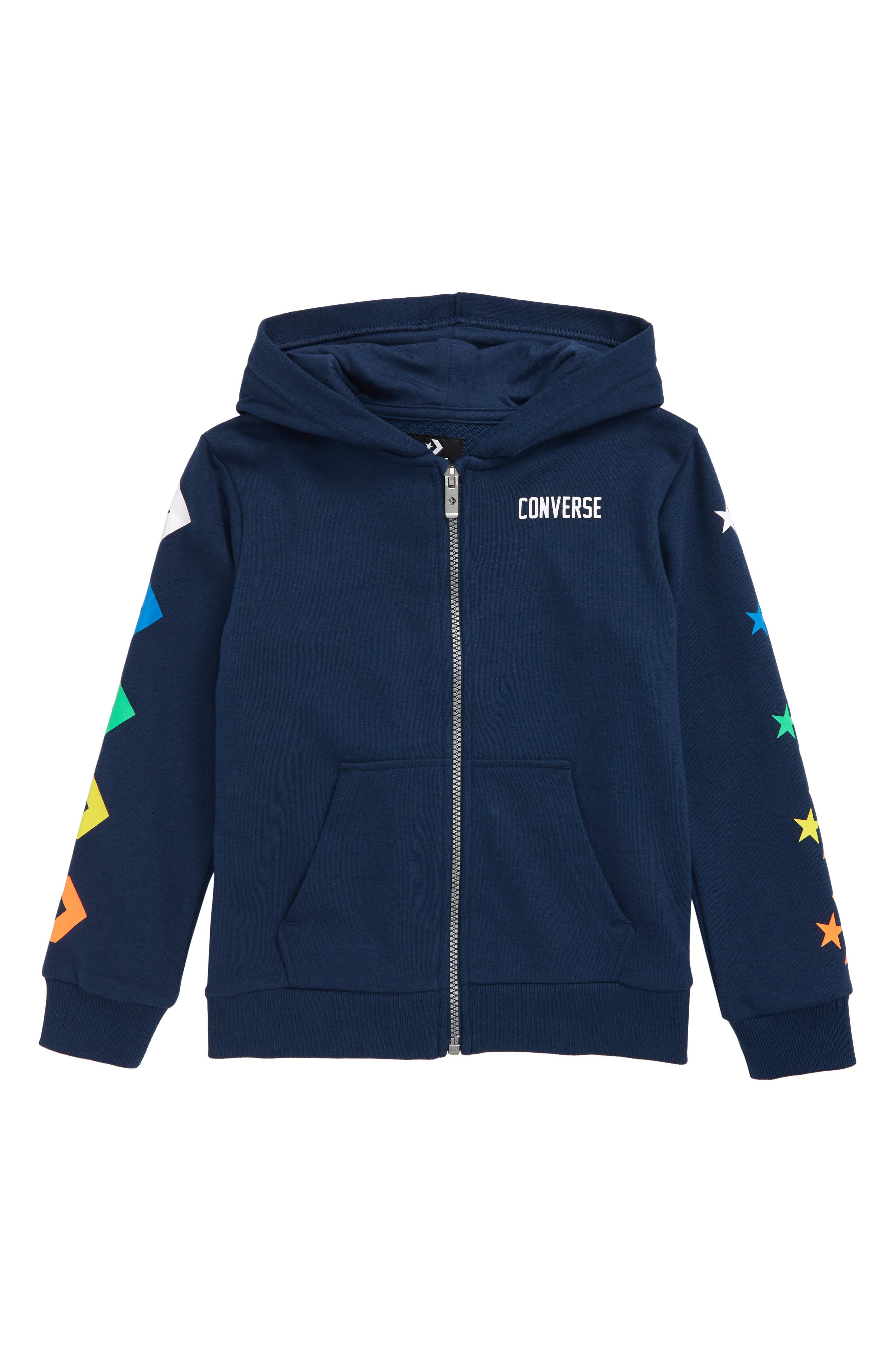 Boys Converse Star Chevron Graphic Zip Hoodie Size L (1213y)  Blue