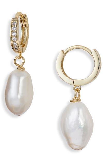 Argento Vivo Earrings GENUINE PEARL & CUBIC ZIRCONIA HUGGIE HOOP DROP EARRINGS