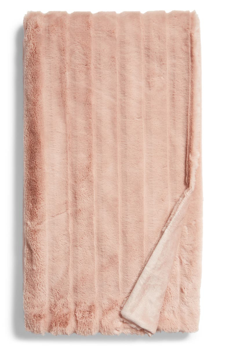 NORDSTROM AT HOME Sheared Stripe Faux Fur Throw, Main, color, PINK ADOBE