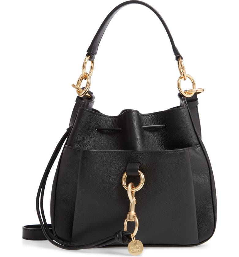 SEE BY CHLOÉ Tony Leather Bucket Bag, Main, color, 001