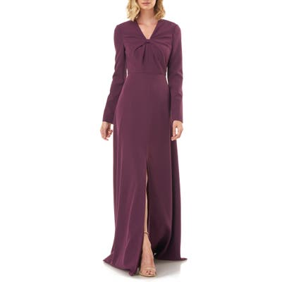 Kay Unger Long Sleeve Crepe Gown, Purple
