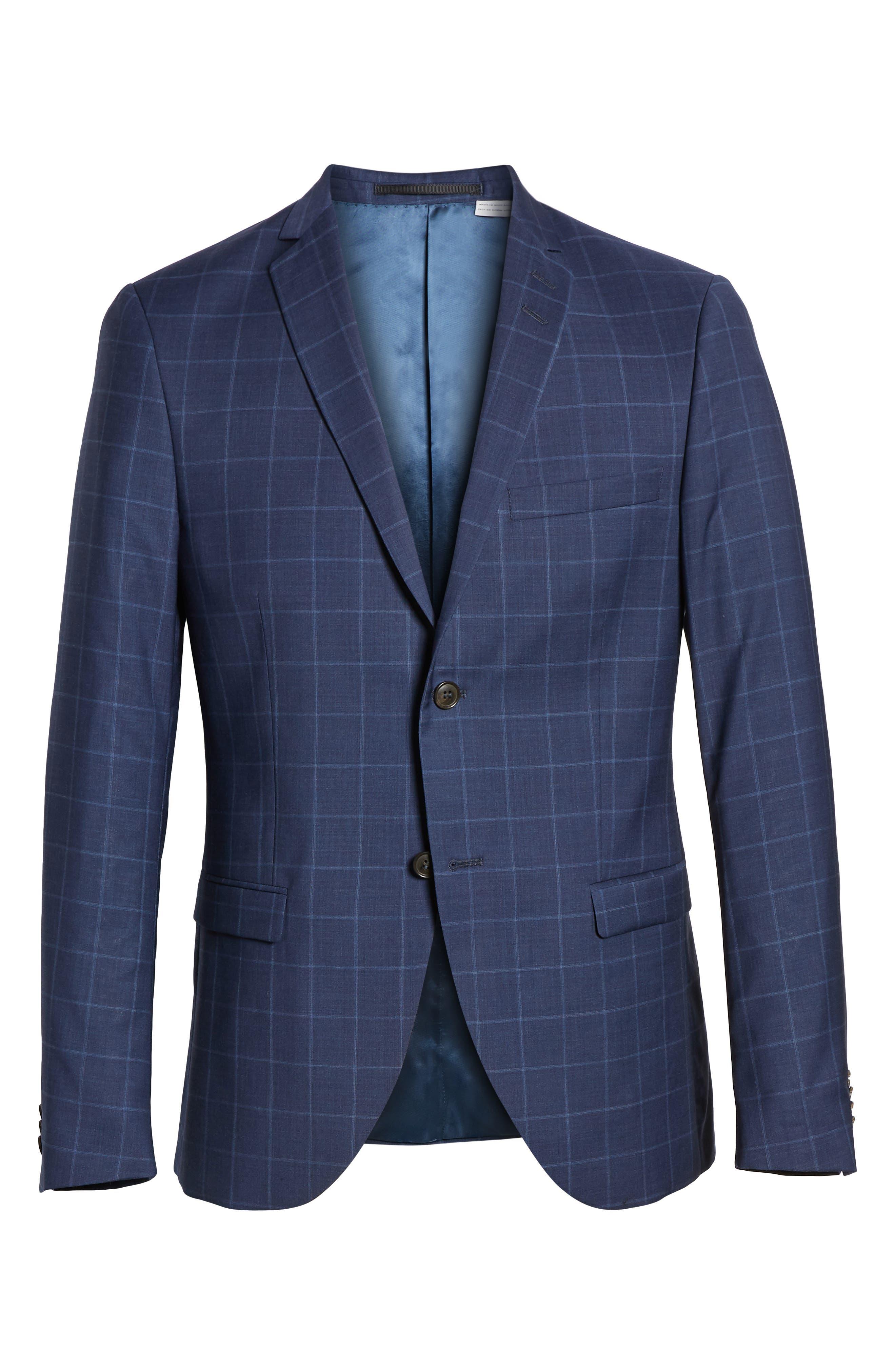 ,                             Jile Trim Fit Windowpane Wool Blazer,                             Alternate thumbnail 7, color,                             SOFT BLUE