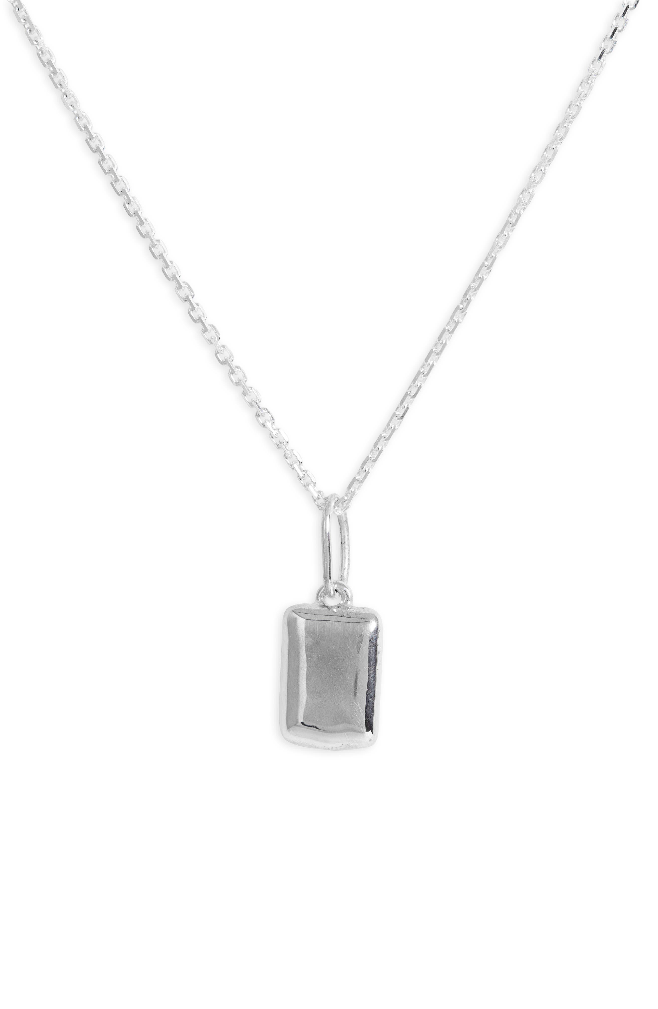 Puff Rectangle Pendant Necklace