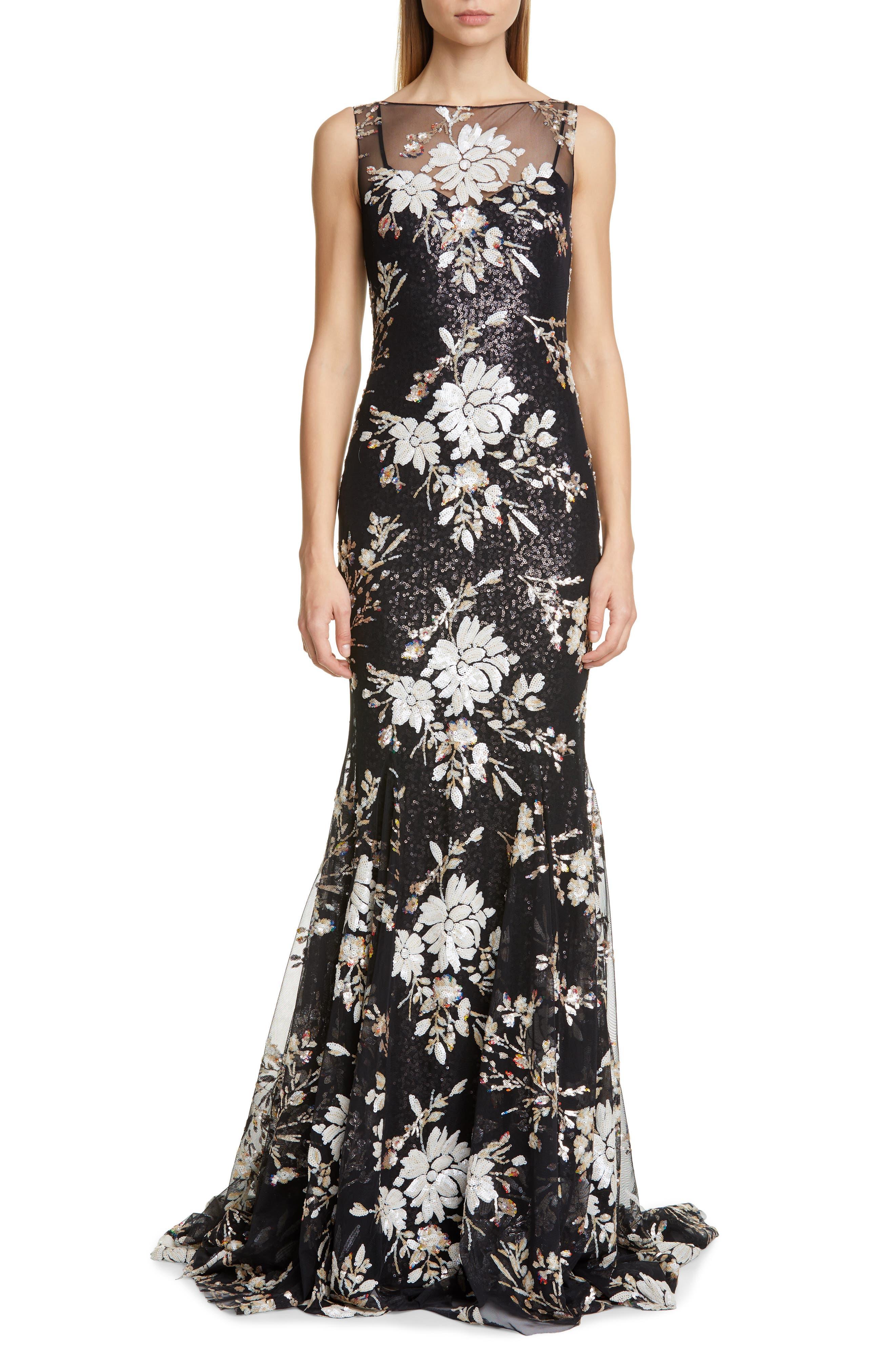 Badgley Mischka Floral Sequin Trumpet Gown, Black