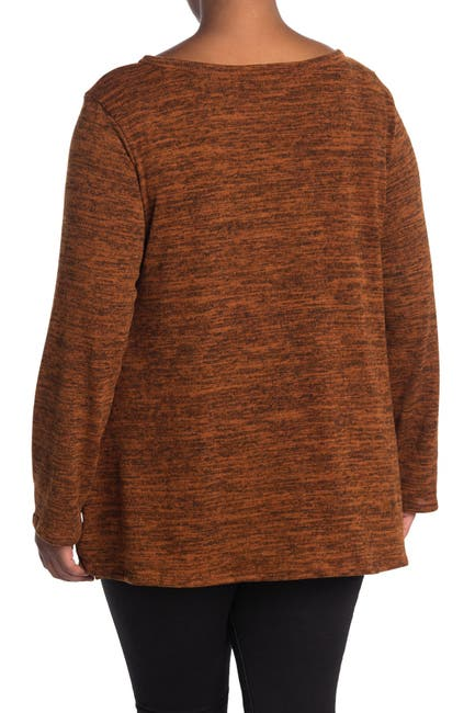 Image of Forgotten Grace Long Sleeve Brushed Hacci Two-Tone Top