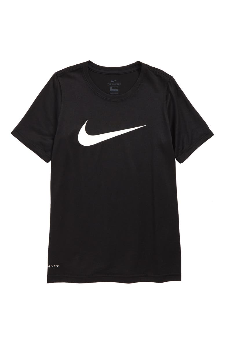 NIKE Dry Swoosh T-Shirt, Main, color, BLACK/ WHITE