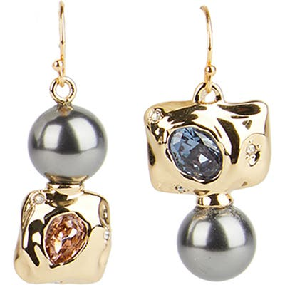 Alexis Bittar Future Antiquity Mismatched Crystal & Imitation Pearl Drop Earrings