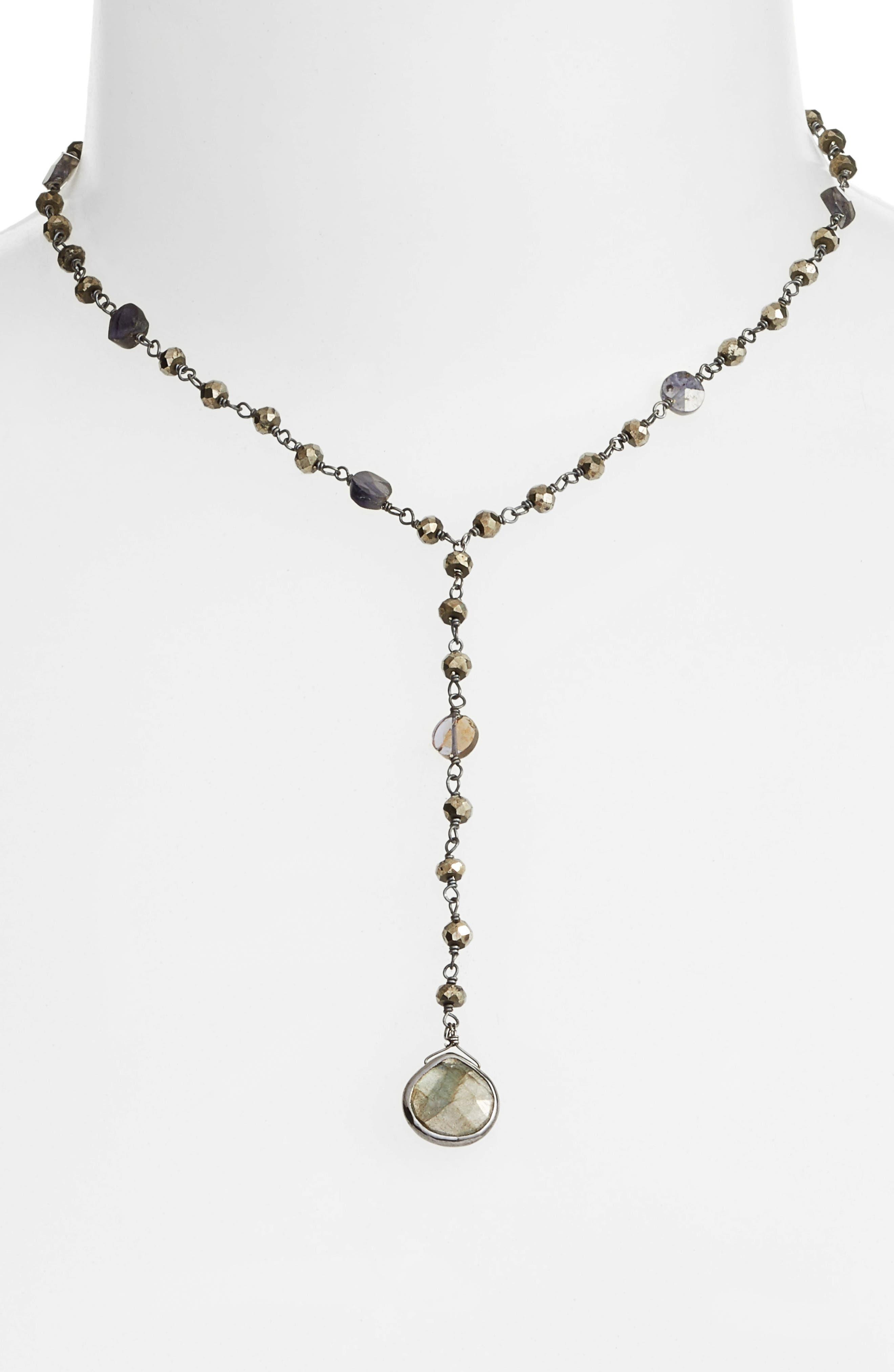 Yaeli Midi Satellite Semiprecious Stone Y-Necklace