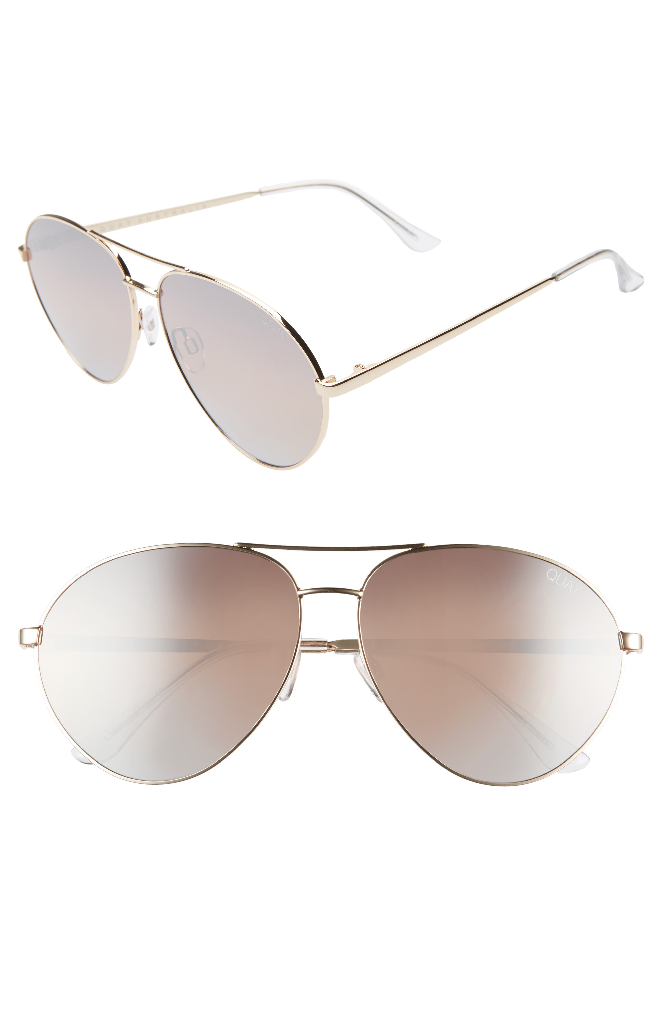 ,                             Just Sayin 59mm Aviator Sunglasses,                             Main thumbnail 1, color,                             GOLD/ BROWN