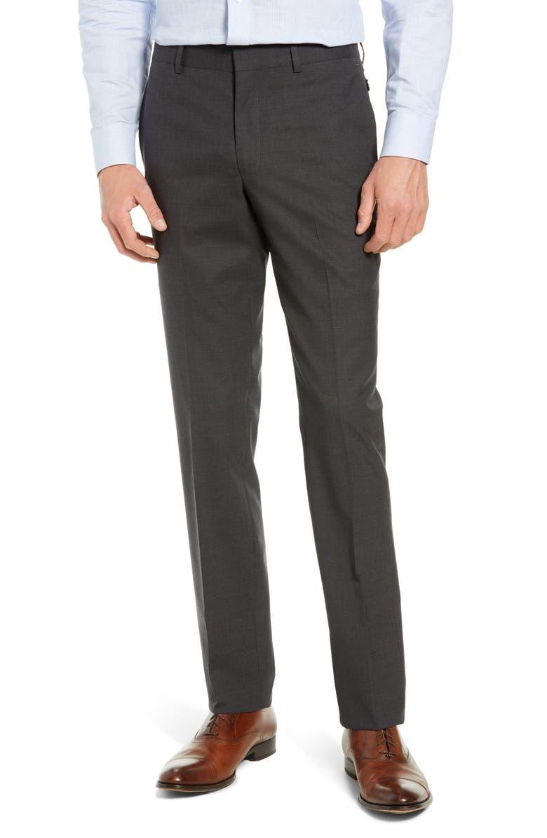 NORDSTROM MEN'S SHOP Tech-Smart Slim Fit Stretch Wool Dress Pants, Main, color, CHARCOAL