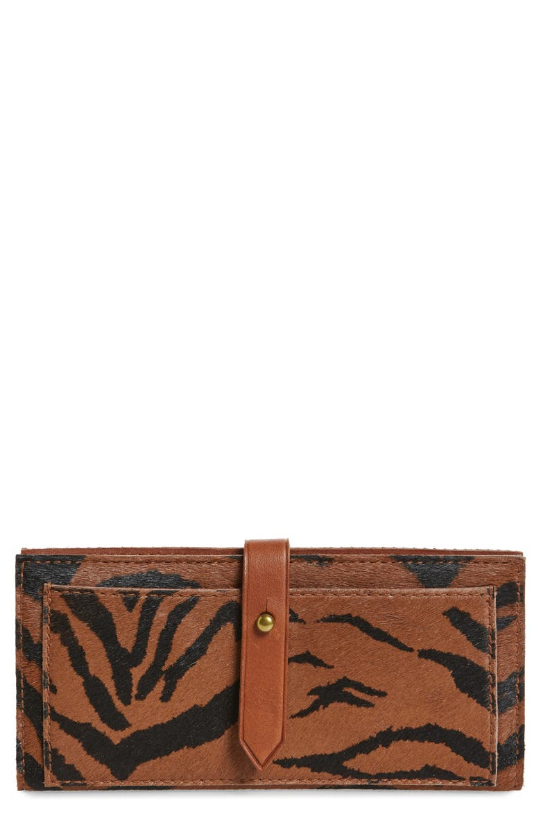 MADEWELL New Post Genuine Calf Hair Wallet, Main, color, MAPLE SYRUP
