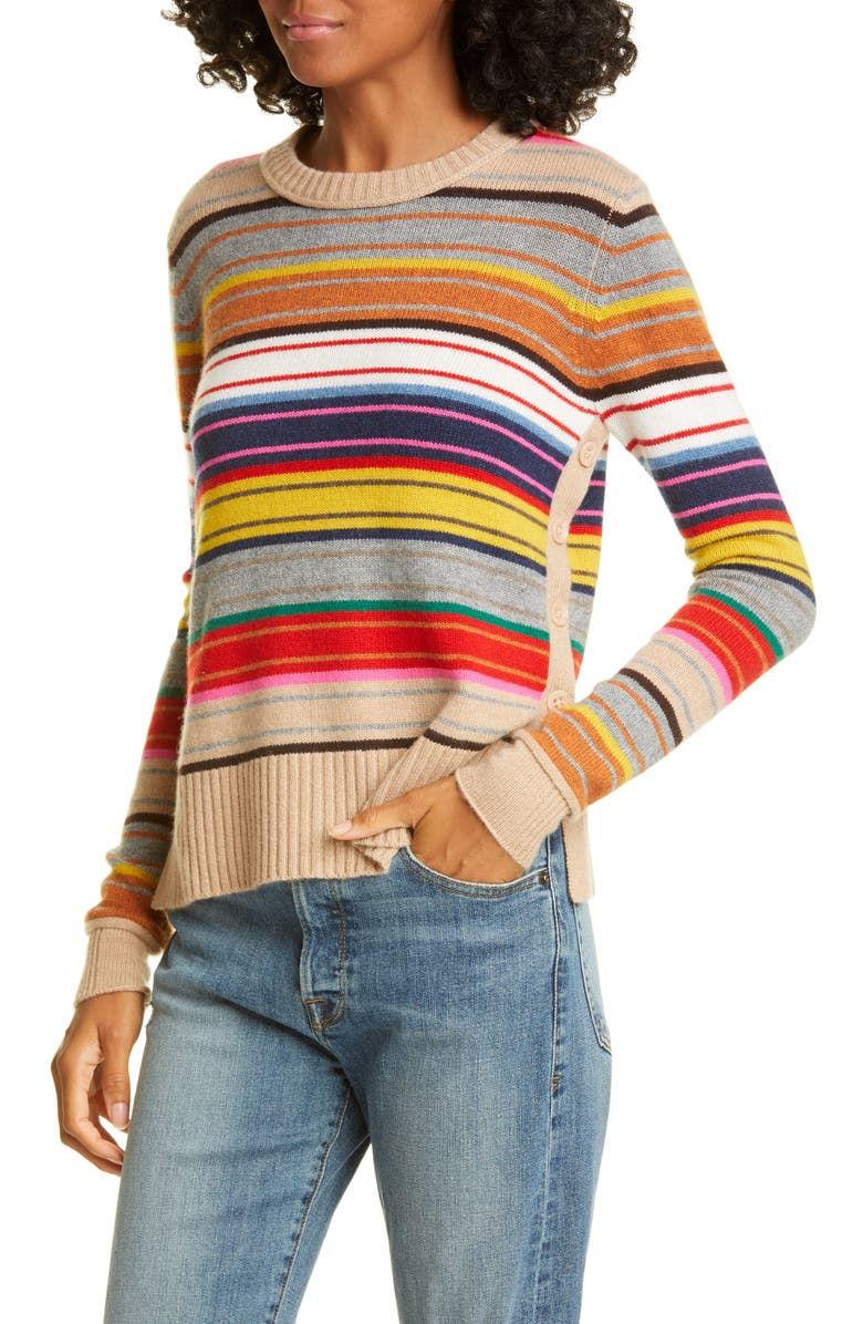 AUTUMN CASHMERE Stripe Side Button Cashmere Sweater, Main, color, BROWN COMBO