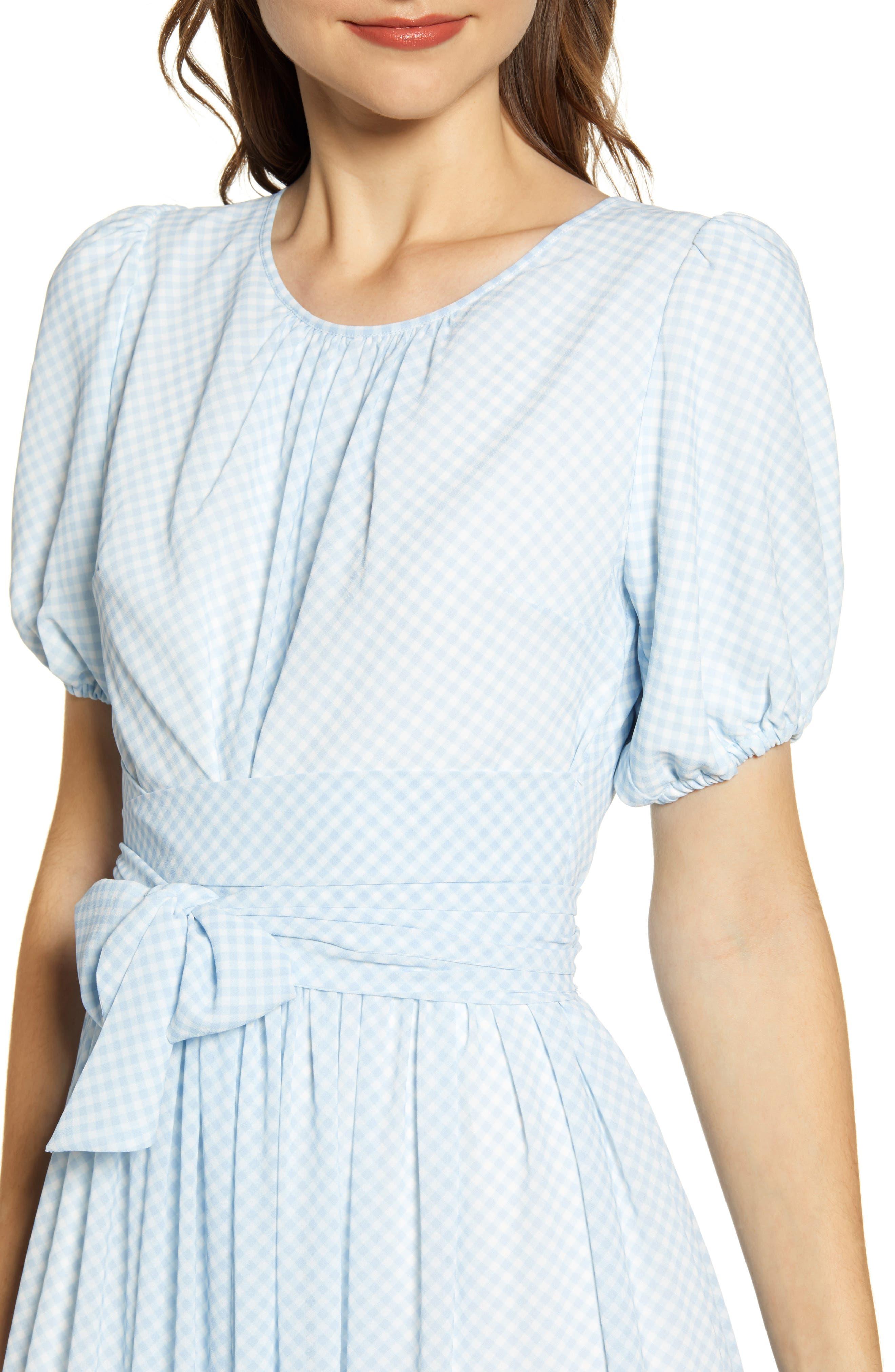 ,                             Gingham Puff Sleeve Dress,                             Alternate thumbnail 7, color,                             BLUE SKYWAY GINGHAM