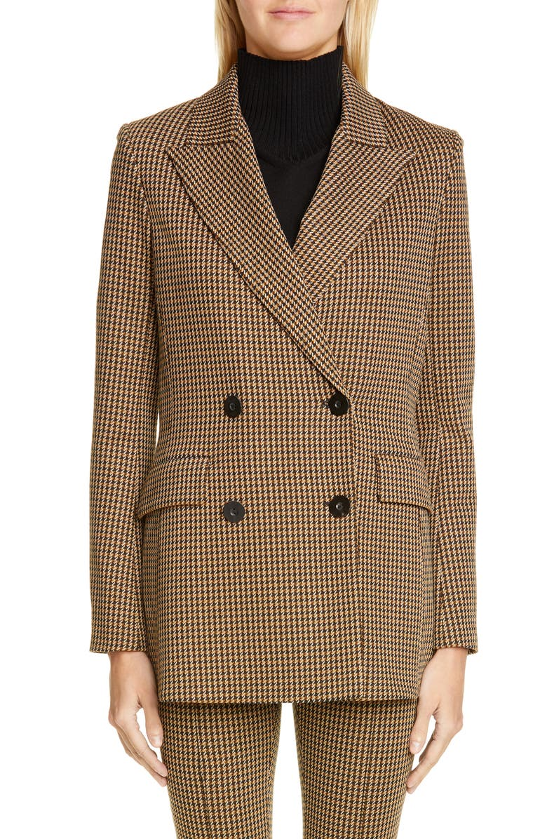 ROSETTA GETTY Double Breasted Houndstooth Blazer, Main, color, 230