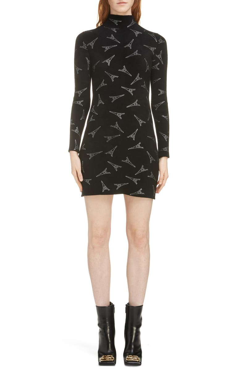 BALENCIAGA Embellished Eiffel Tower Body-Con Sweater Dress, Main, color, 1000-BLACK