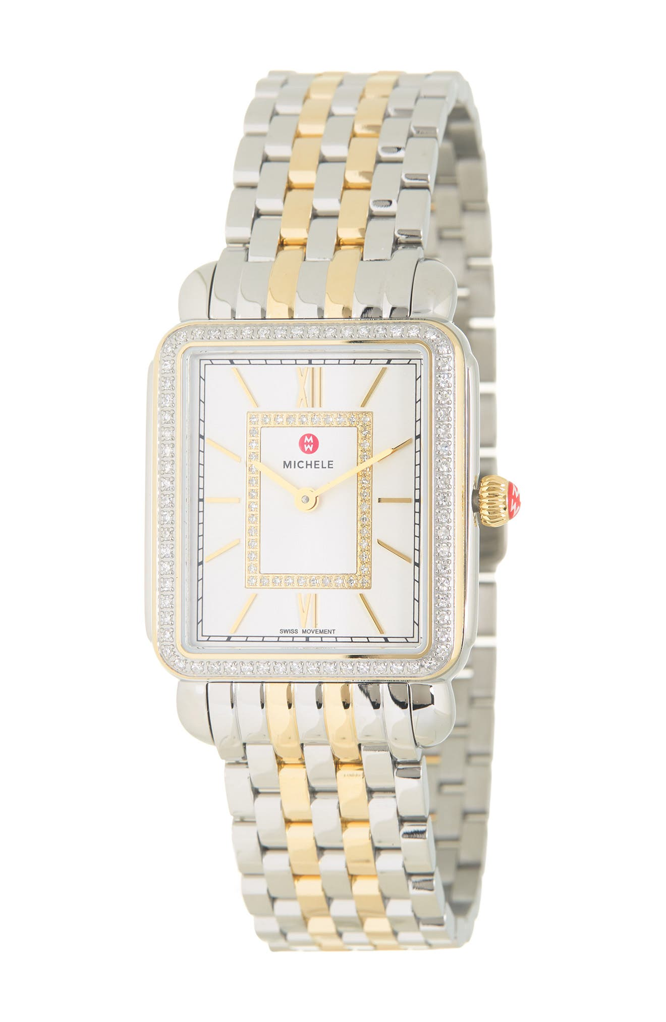 Image of Michele Women's Deco II Mid Two-Tone 18K Gold Diamond Watch, 26mm - 0.45 ctw