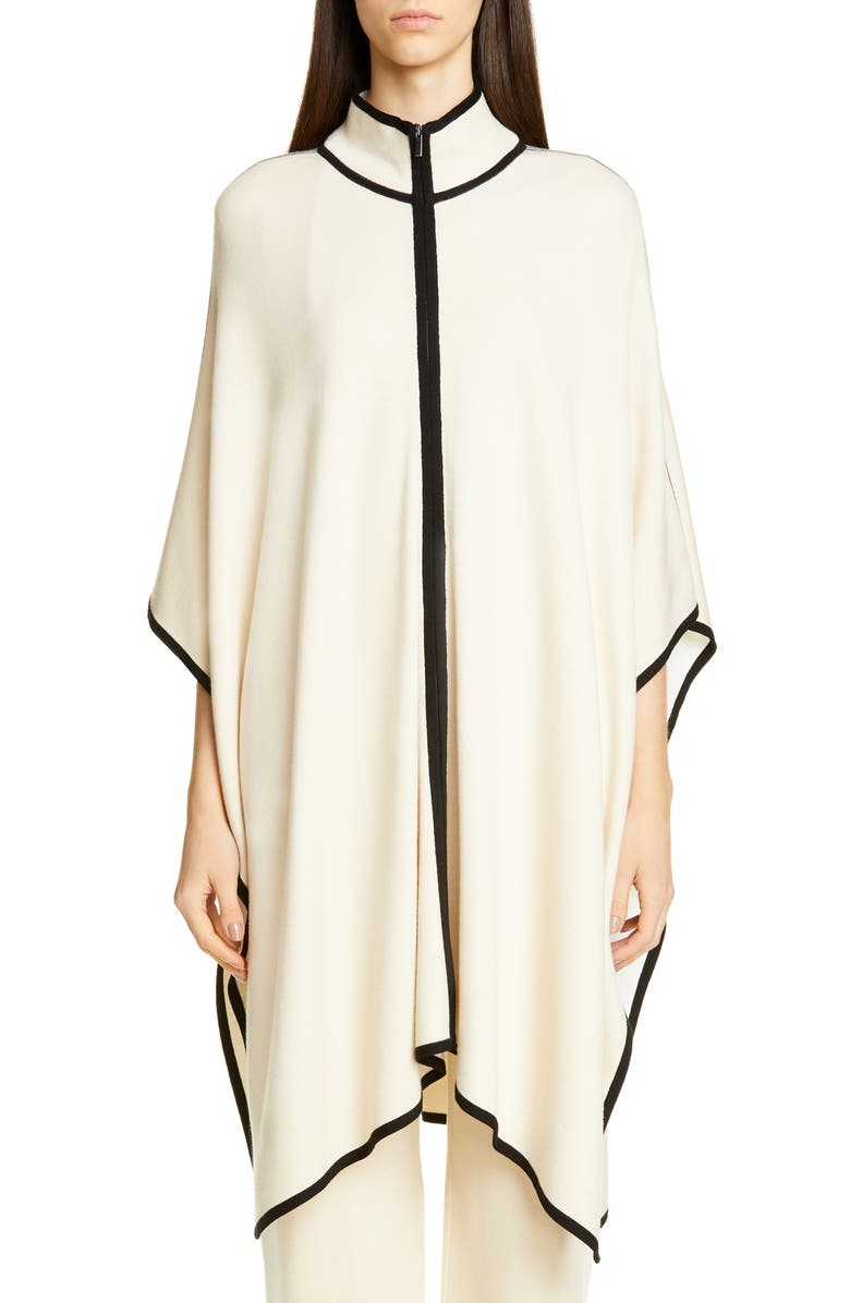 ST. JOHN COLLECTION Engineered Stripe Knit Poncho, Main, color, SAND MULTI