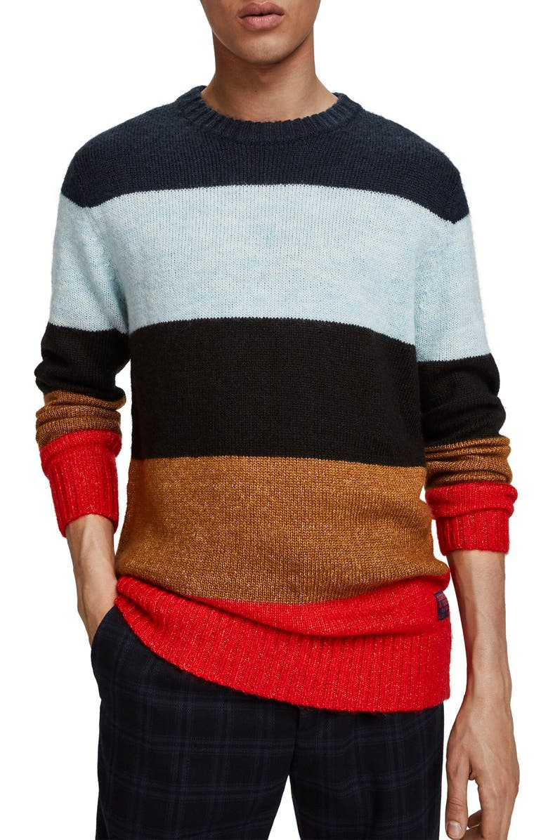 SCOTCH & SODA Colorblock Stripe Regular Fit Pullover, Main, color, BLUE MULTI