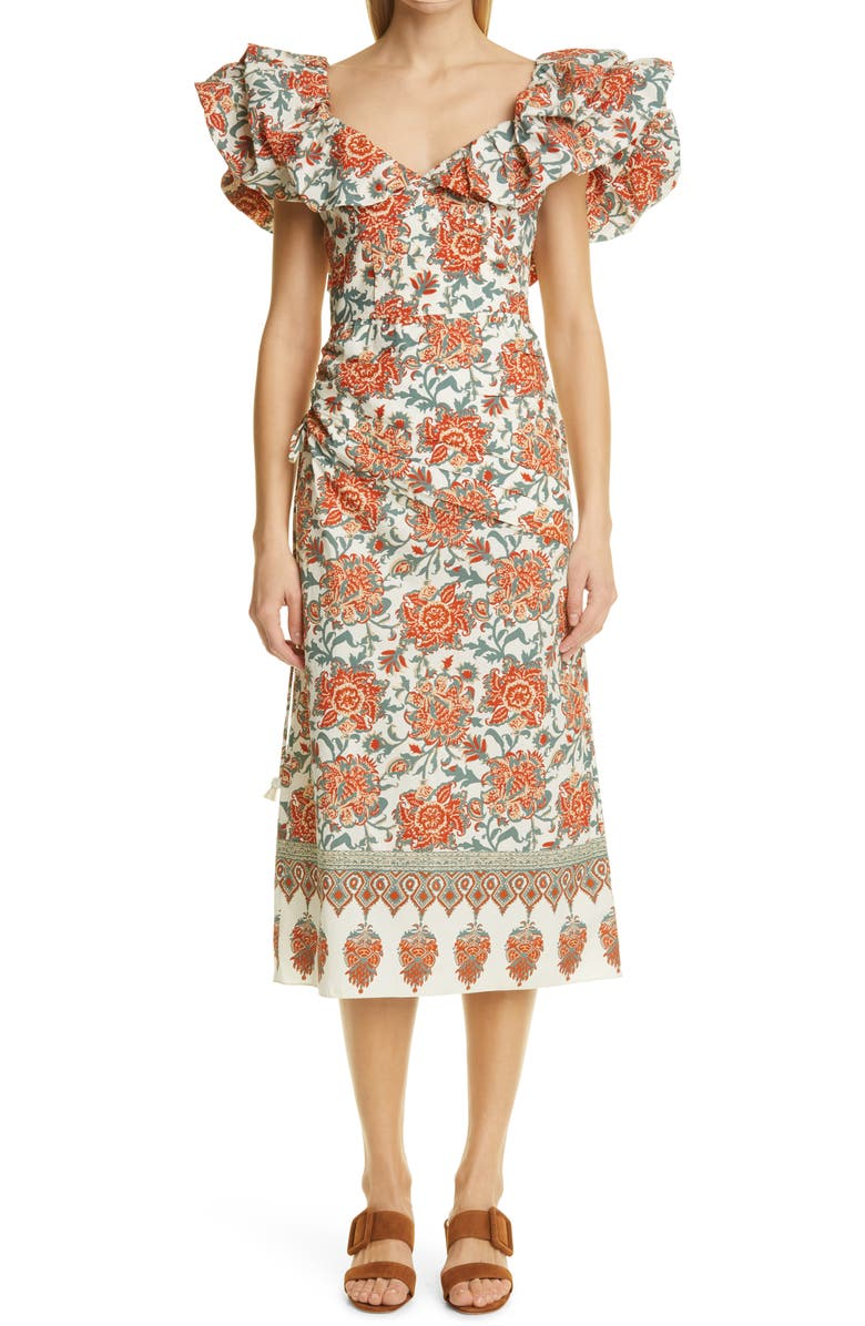 JOHANNA ORTIZ Art de Vivre Floral Cotton Midi Dress, Main, color, ROADTRIP RED PEPPER