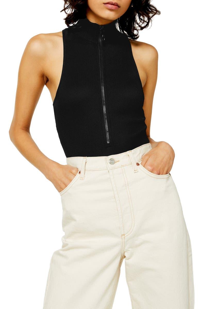 TOPSHOP Ring Pull Mock Neck Bodysuit, Main, color, BLACK