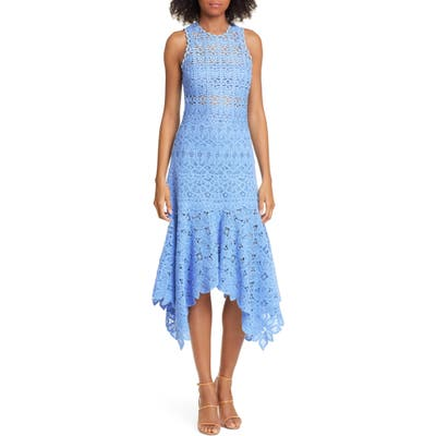 Jonathan Simkhai Handkerchief Hem Crochet Lace Midi Dress, Blue