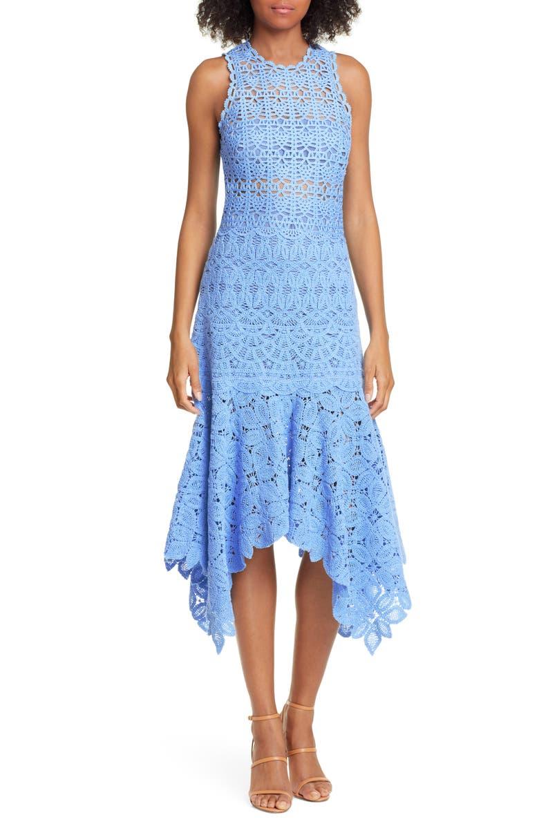 JONATHAN SIMKHAI Handkerchief Hem Crochet Lace Midi Dress, Main, color, SKY BLUE