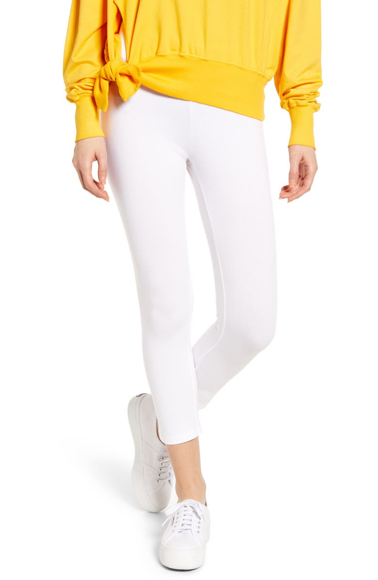 HUE Ultra Wide Waistband Capri Leggings, Main, color, WHITE