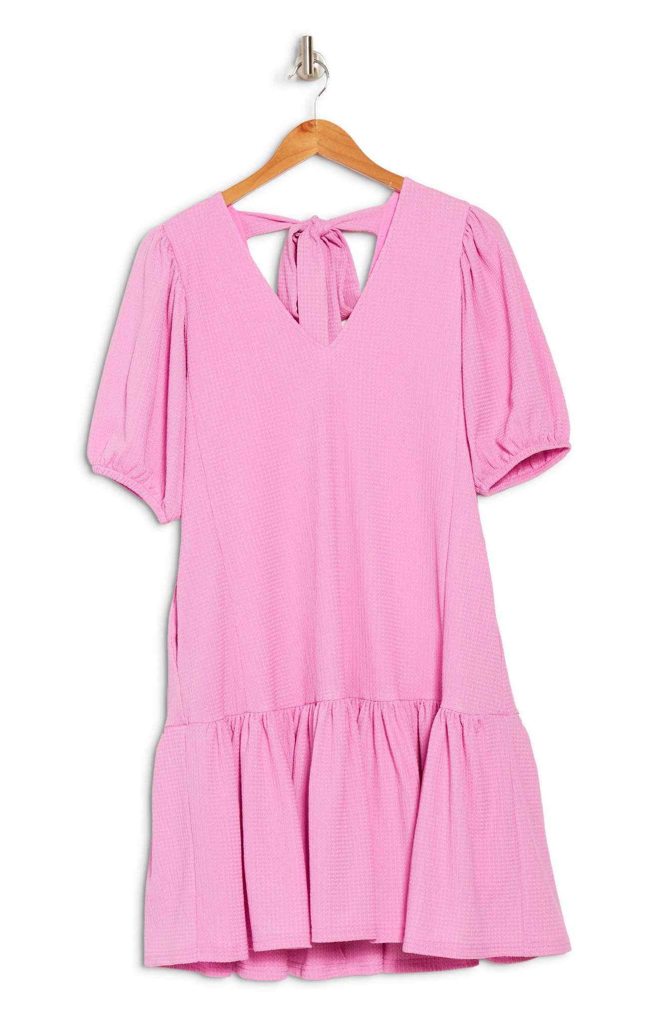 Melloday Puff Volume Sleeve Ruffle Hem Dress In Rose