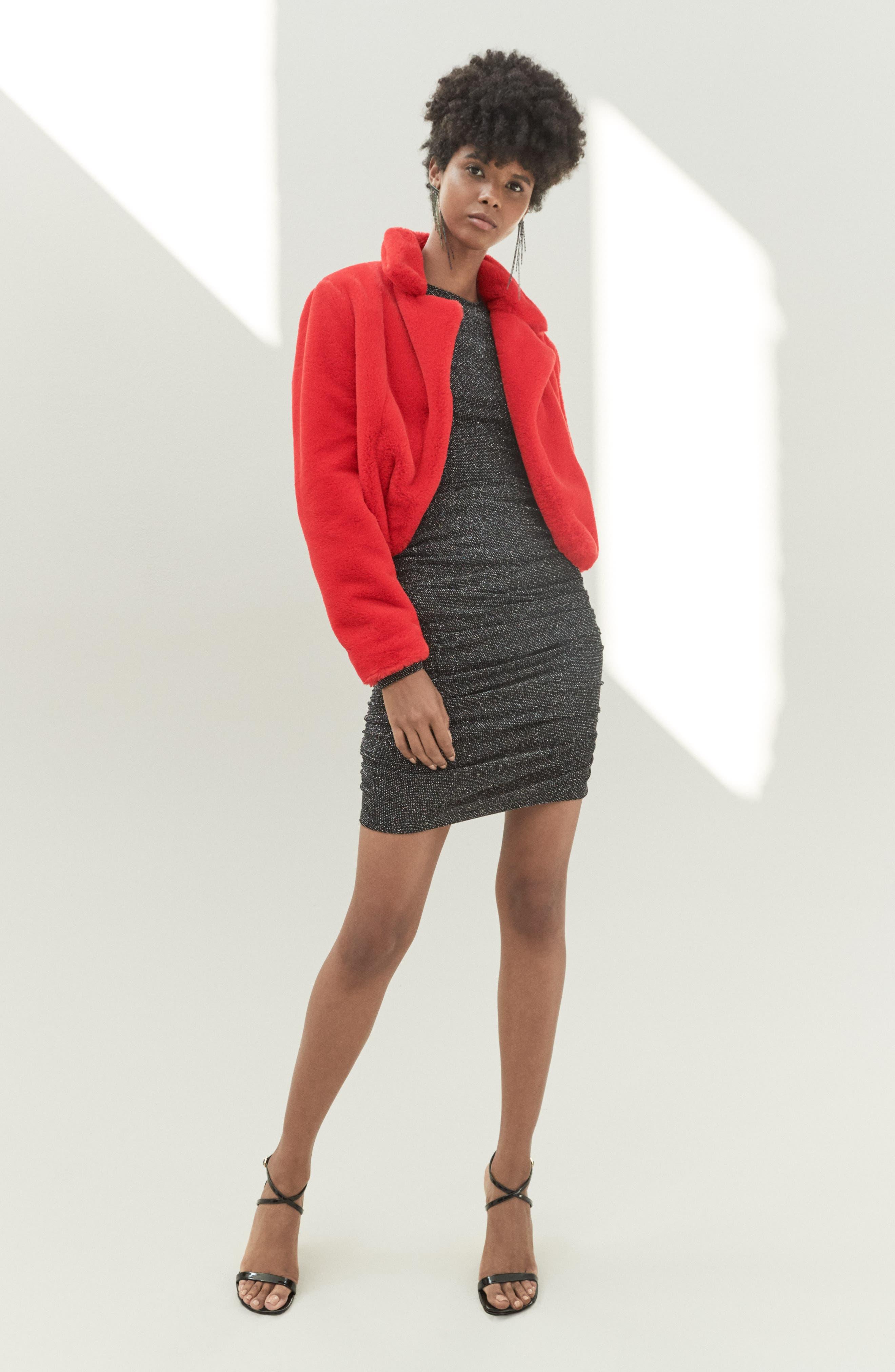 Women's Blanknyc Cropped Faux Fur Jacket, Size Large - Black