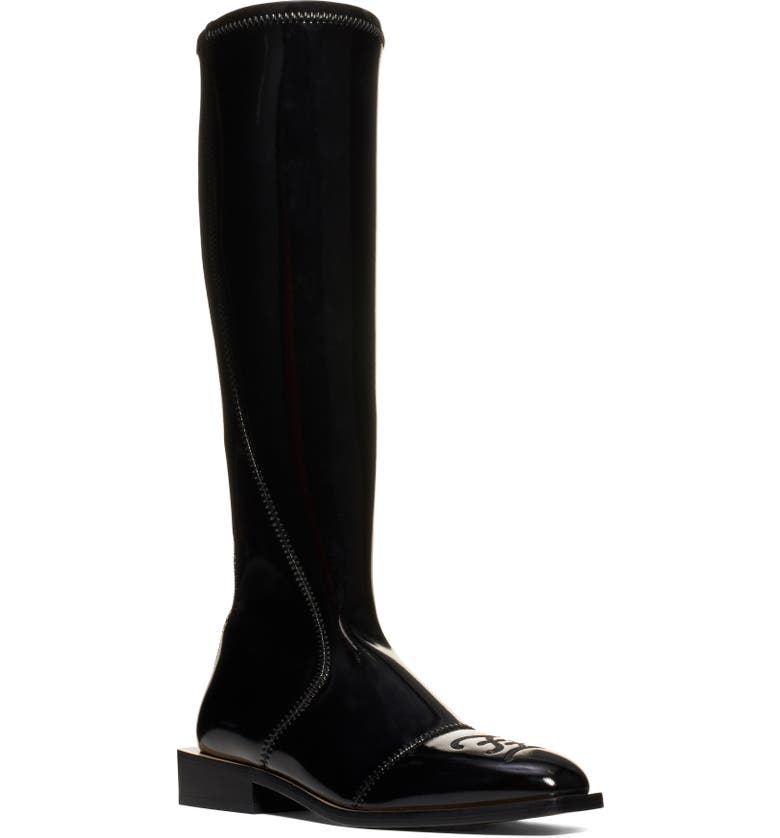 FENDI Knee-High Boot, Main, color, BLACK