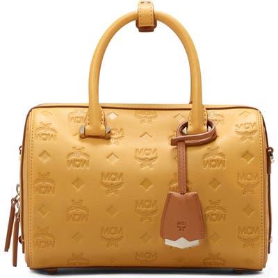 Mcm Essential Boston 23 Monogram Leather Satchel - Yellow
