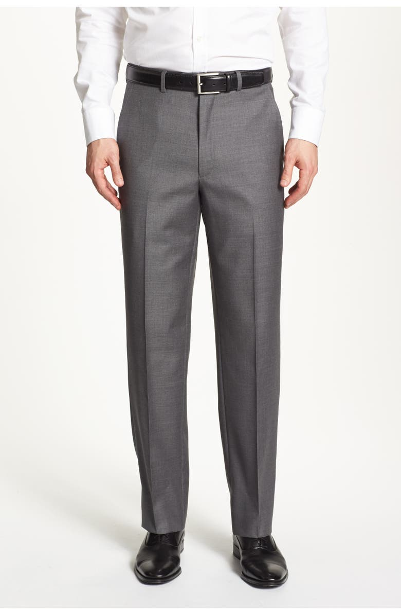 SANTORELLI Luxury Flat Front Wool Dress Pants, Main, color, GREY