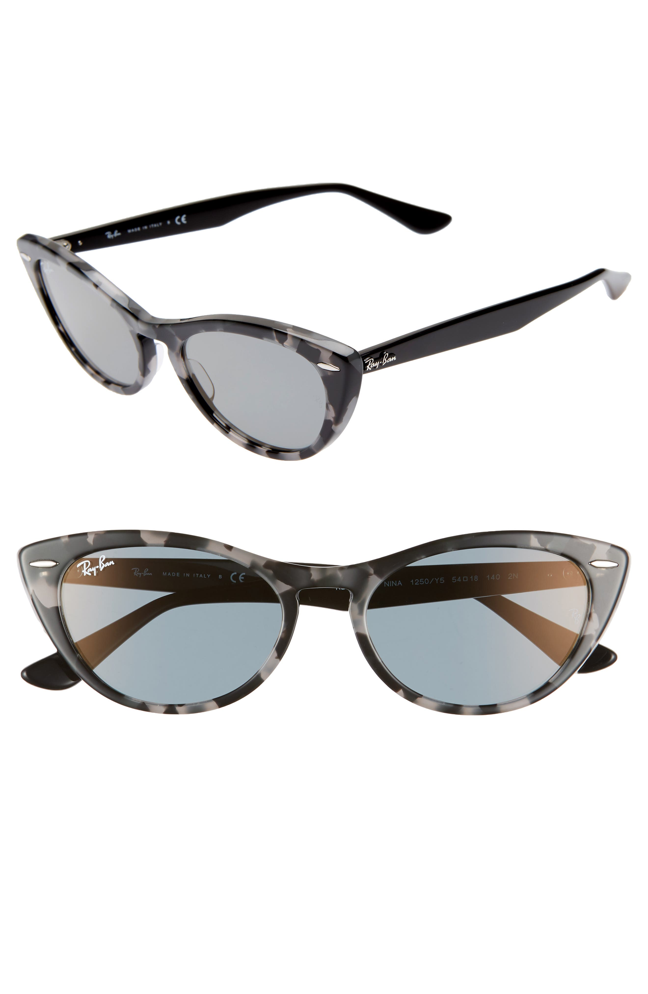 Ray-Ban Nina 5m Cat Eye Sunglasses - Grey Havana Grey Solid