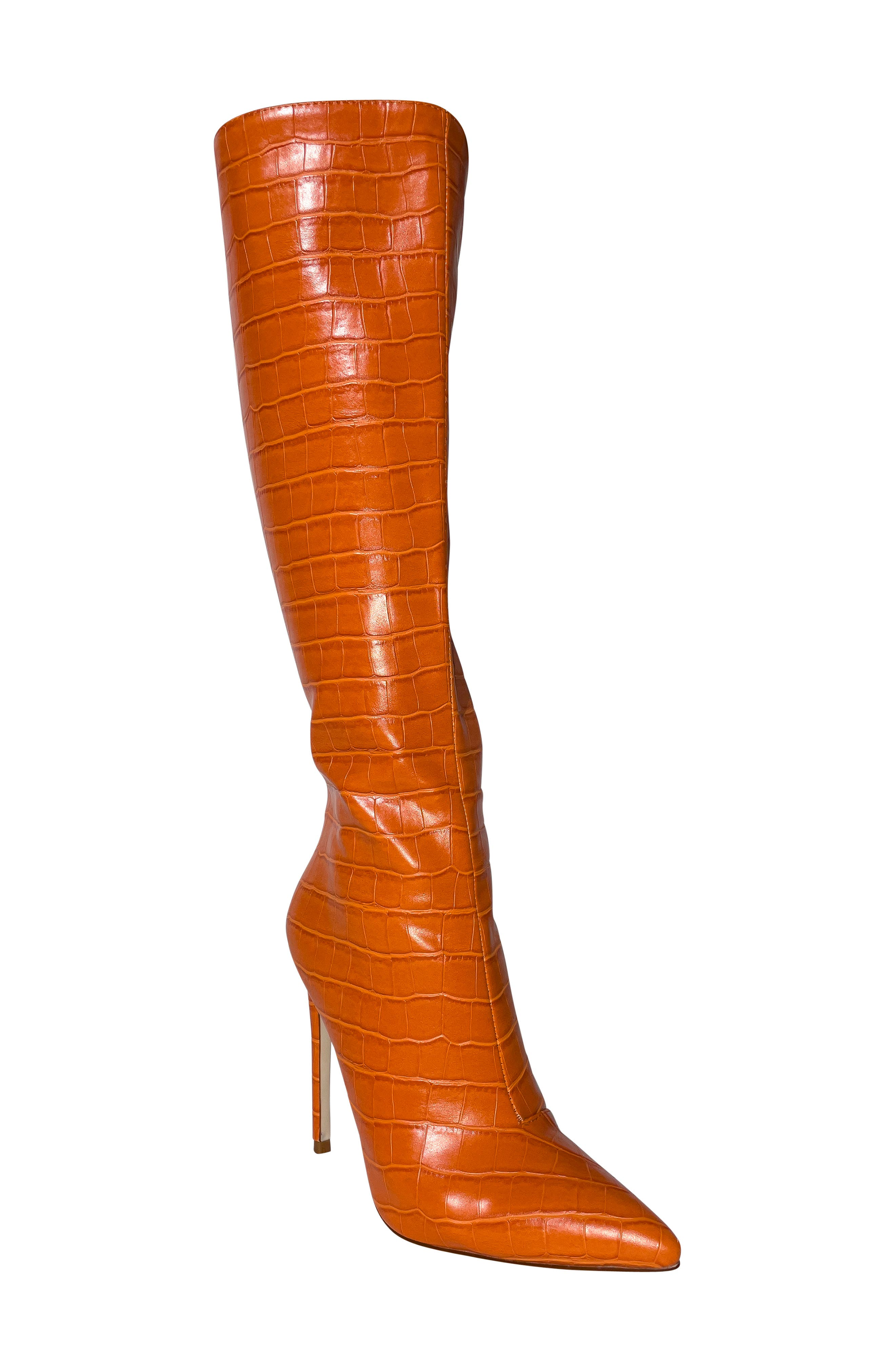 Cal Croc Embossed Pointed Toe Stiletto Boot