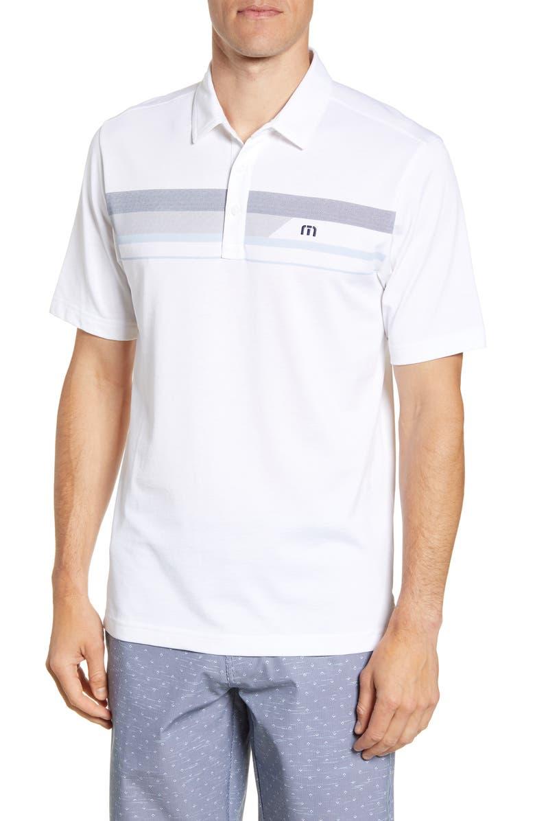 TRAVISMATHEW Gone Fishing Regular Fit Short Sleeve Polo, Main, color, 100