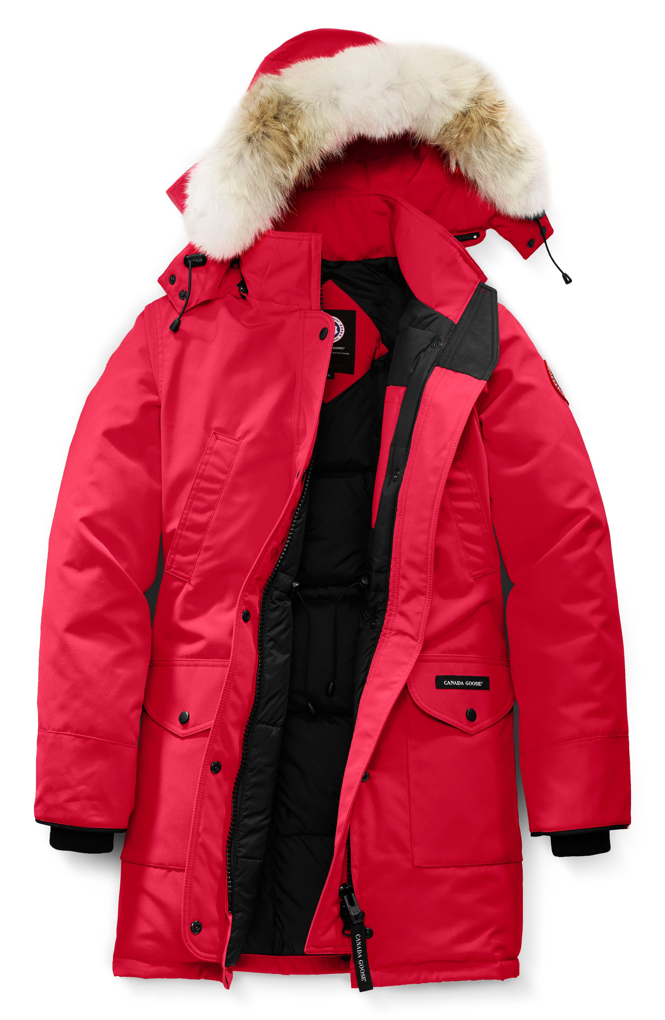 Petite Canada Goose Trillium Fusion Fit Hooded Parka With Genuine Coyote Fur Trim, (10-12) - Red
