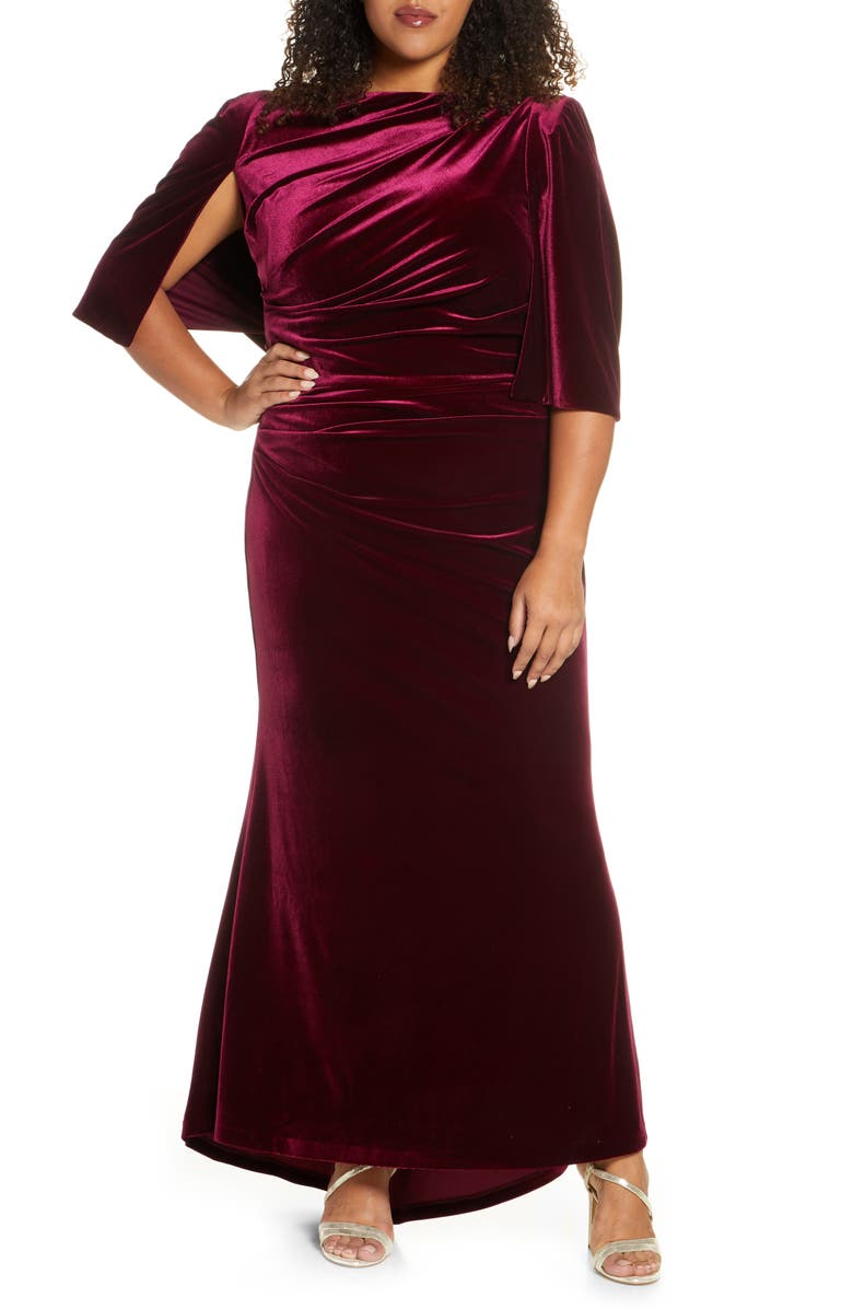 ELIZA J Capelet Velvet Gown, Main, color, WINE