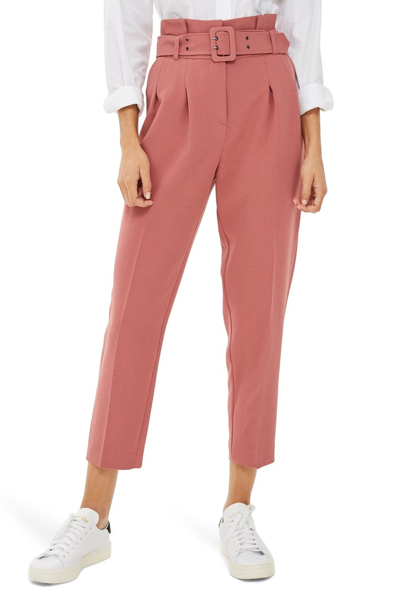 TOPSHOP Ayla Belted Eyelet Trouser, Main, color, 650