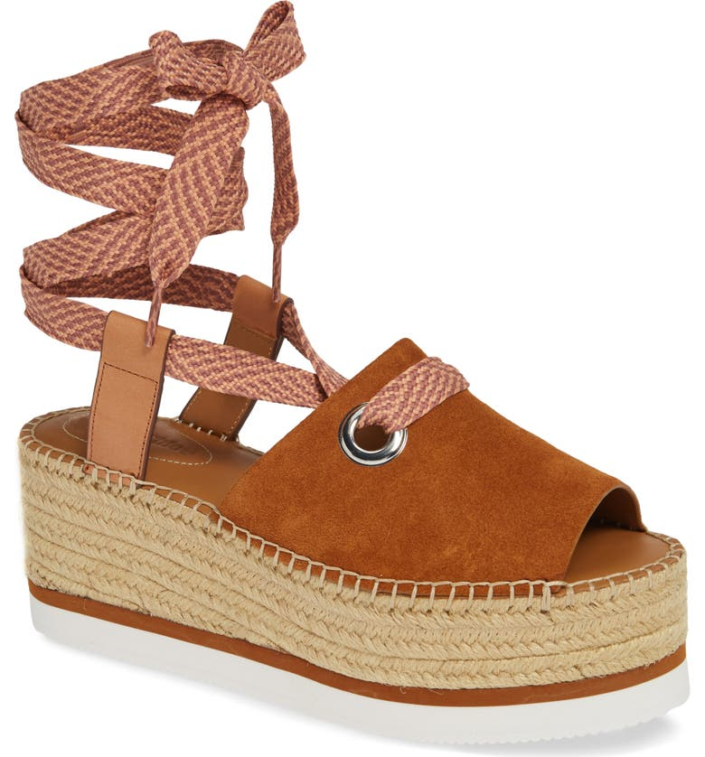 SEE BY CHLOÉ Glyn Amber Platform Ankle Wrap Sandal, Main, color, TAN