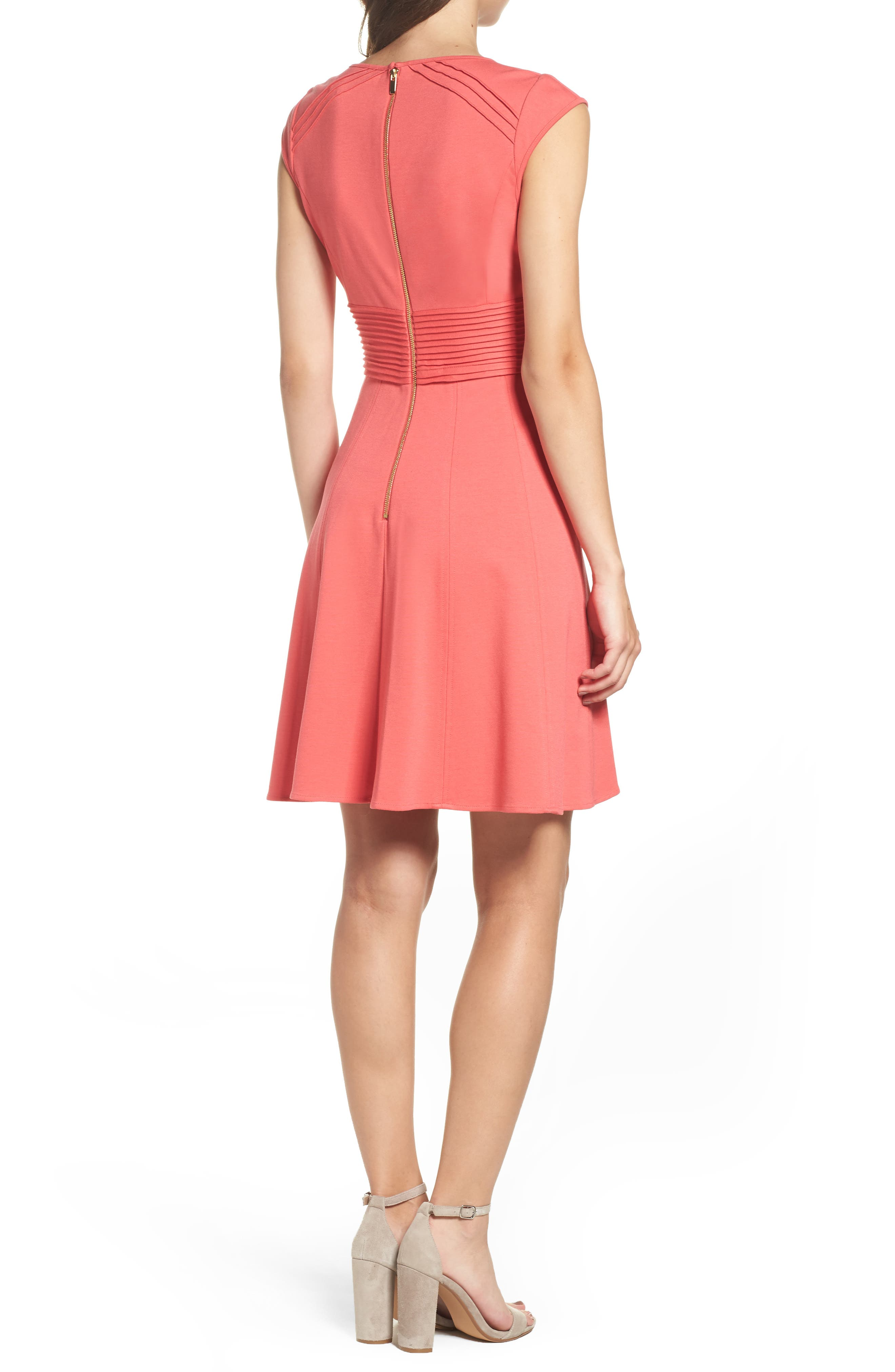 ,                             Pintucked Waist Seamed Ponte Knit Fit & Flare Dress,                             Alternate thumbnail 3, color,                             950